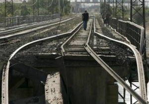 Russia has bombed a major civilian rail line in Georgia, cutting the country in two