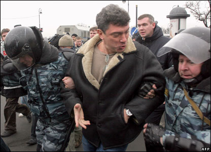 Former Russian deputy prime minister Boris Nemstov, in the middle of an argument Putin style with the neo-Soviet Kremlin