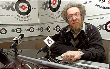 Alexei Venediktov, chief editor of Echo Moskvy radio, was berated in front of his peers by the prime minister for his coverage of the Georgia war. (By Alexander Zemlianichenko -- Associated Press)