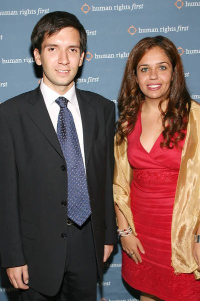 And La Russophobe is no exception!  Oleg Kozlovsky cleans up swell for the 30th annual Human Rights First awards banquet on Friday in Manhattan. With co-winner, from Egypt.