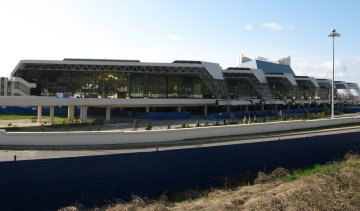 Vast modern building with no signs of life -- Sochi's airport today