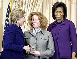 Veronika Marchenko (center)