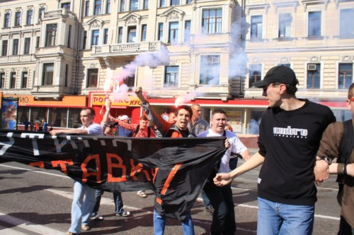Oleg Kozlovsky (center) calling for Vladimir Putin to resign