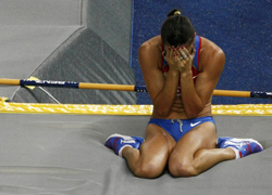 Isinbayeva crumbles in defeat
